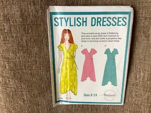 sewing pattern ladies wrap dress 2 lengths sizes 8-24 uncut threadcount 1908