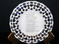 "Vintage 7"" Milk Glass Open Lace Decorated Plate W/Poem, Flowers, & Gold Accents"