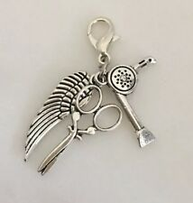 Clip On Charms For Bracelets Scissor Hairdryer Hairdresser Angel Wing Charms