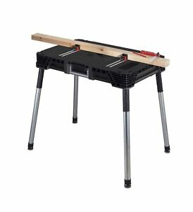 KETER Jobmade Portable Work Bench and Miter Saw Table for Woodworking Tools a...
