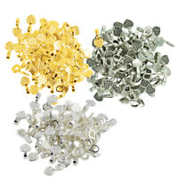 300Pcs/Lot Metal Heart Glue on Bails Pendant Cabochon Finding Beads Craft