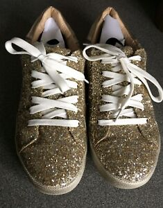 Justfab Gold Glitter Trainers Size 6