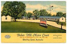 BAKER HILL MOTOR COURT BOWLING GREEN KENTUCKY LINEN POSTMARKED 1951 POSTCARD