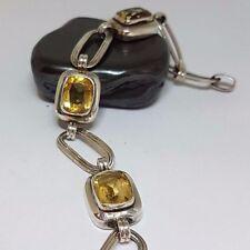 Modernist Bracelet Designer Silber 835 Armband Citrine Antikschliff  Boho / AG04