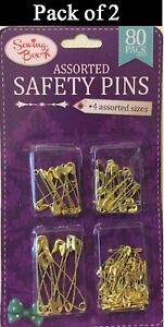 Two Pack of 80 Gold Colour Assorted Sizes Safety Pins