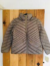 Ladies Womens Michael Kors Packable Paca Mac Coat Jacket Taupe Gold Size Large L