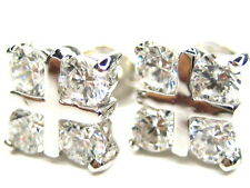 PAVE 1.28CT DIAMONIQUE STERLING SILVER 18K CLAD STUD EARRINGS
