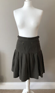 Peruvian Connection Short Pleated Khaki Skirt UK 8 Fit And Flare