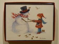 Leanin' Tree Friendly Snowman & Scandinavian Girl Christmas Cards Box of 12