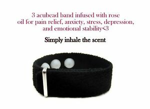 Anxiety Acupressure Bracelet, Adjustable Rose Scented Aroma Band, Pain Relief