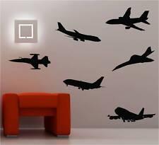 6 x JET AVIONS Art mural autocollant vinyle chambre d'enfant