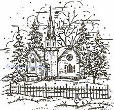 Church, Fence, And Pines, Wood Mounted Rubber Stamp NORTHWOODS - NEW, M3938