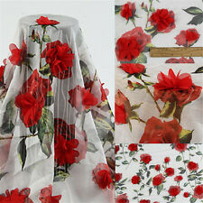 Lace Fabric Organza Tulle Red Rose Embroidery Wedding Dress Sewing 140cm*100cm