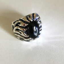 Vintage Flames Real Black Star Onyx Power Stone 925 Sterling Silver Ring Size 8