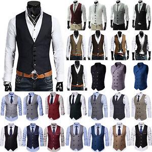 Men Formal Business Wedding Slim Fit Dress Suit Tuxedo Vest Classic Waistcoat AU