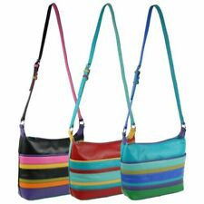 Ladies Leather Colourful Cross Body Shoulder Bag by Ili New York Stripes