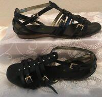ENZO ANGIOLINI Size 8.5M Black Patent Leather Gladiator Sandal