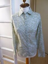 BNWT Pure Collection cotton green ditsy patterned long sleeved shirt/blouse 8
