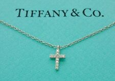 Authentic Tiffany & Co. Mini Cross Diamond 18k White Gold Pendant Necklace