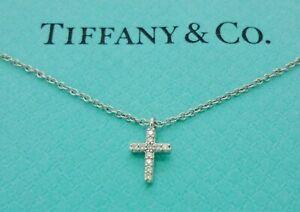 Authentic Tiffany & Co. Mini Cross Diamond 18k White Gold Pendant Necklace