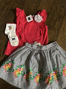 NWT Janie And Jack Girl 3-piece SUMMER Pink Red Floral Party Skirt socks SET 6