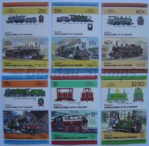 1985 BEQUIA Set #4 Train Locomotive Railway Stamps (Leaders of the World)