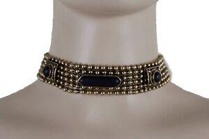 Women Antique Gold Metal Fashion Vintage Jewelry Set Choker Necklace Black Beads