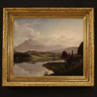 Antique painting landscape framework oil on canvas signed 800 19th century