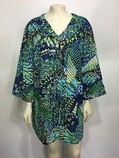 Maggie Barnes 1X 18/20W Blue Green Sheer Tunic Top Shirt 3/4 Sleeves V-Neck