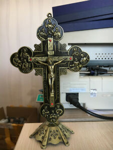 Antique Bronze Standing Crucifix Cross Jesus Christ on Inri With Base 8 inch