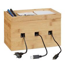Kabelbox Bambus, Multi Ladestation Holz, Kabelmanagement Schreibtisch, Ladebox