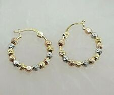Genuine 18k Solid  Gold  Tri-Colour Running Ball Round Hoop Earrings