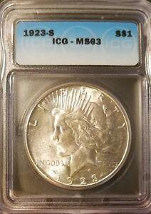 1923 S PEACE DOLLAR ICG MS63
