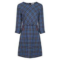 Vintage Style Blue 100% Cotton Checked Plaid Tartan Dress w Pockets BNWT Size 16