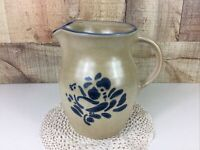 Vintage Pfaltzgraff Pottery Bluebird Pattern Folk Art Pitcher 6.5 Inch