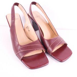 Anne Klein 8 M Open Toe Sandals Slingback Spool Heel Burgundy 3 3/8