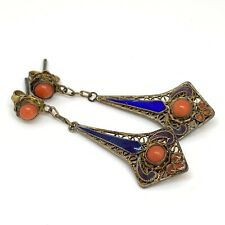 Antique Silver gilt, Coral and enamel earrings