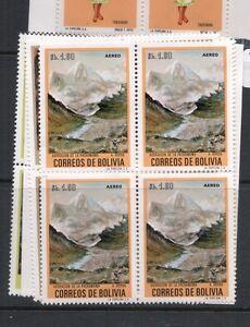 Bolivia SC C316-9 Blocks of 4 , 1.60B, 1 Small Split MNH (3ddt)