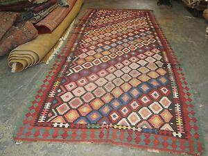 Vintage Caucasian Shirvan Kilim 5'-2 x 12'-6 Hand Woven Basserabian Wool Rug