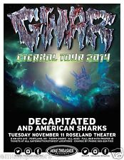 "GWAR/DECAPITATED ""ETERNAL TOUR 2014"" PORTLAND CONCERT POSTER - Oderus In The Sky"