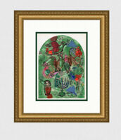 "Great 1962 MARC CHAGALL Jerusalem Windows Lithograph ""Tribe of Asher"" Framed COA"