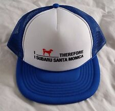 Subaru Dog Santa Monica Baseball Trucker Hat Cap Mesh Blue Vintage Cool Hipster