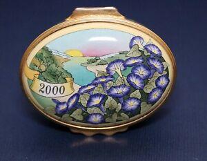 """Halcyon Days Enamel Trinket Box 2000 """"A Year to Remember"""" English"""