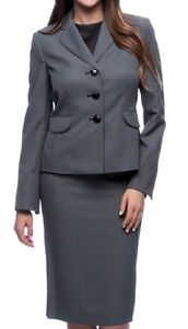 Evan Picone Suit Sz 8 Navy Blue White Micro Dot Business Career 2 PC Skirt Suit