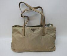 Prada Vintage Damas Bolso de hombro de nylon color beige nude Correas de Cuero Genuino