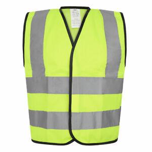 Kids High Visibility Vest Yellow (4-12 Years) Conforms to EN471 (HVV3267) Hi Vis