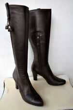 Leather Work Slim Heel Boots for Women