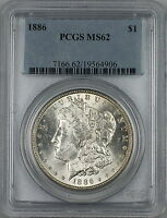 1886 Morgan Silver Dollar $1 Coin PCGS MS-62 RL (N)