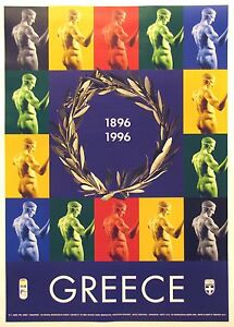 GREECE  OLYMPICS 1896 / 1996  original poster linen backed showing  Diadumenos