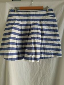 Cabbages And Roses blue/white striped cotton skirt size 14 made in London